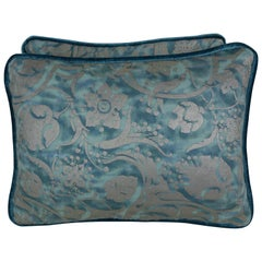 Persepolis Patterned Blue Fortuny Pillows, Pair