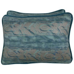 Pair of Blue and Silver Fortuny Pillows