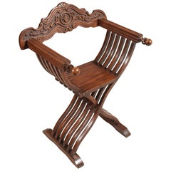 Renaissance Revival Savonarola Chair in Carved Walnut Restored and Wax Polished