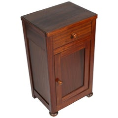 1900s Rustic Country Nightstand, Bedside Table, Walnut and Mahogany, Restored