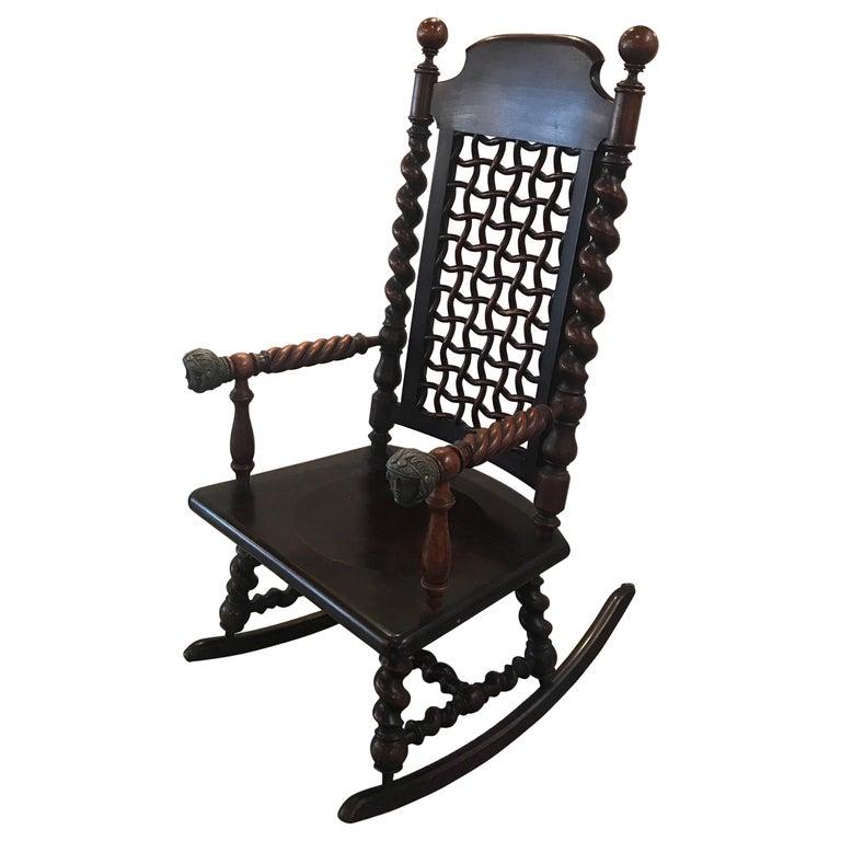 Remarkable Merklen Brothers Moorish Fretwork 19Th Century Walnut Rocking Chair Machost Co Dining Chair Design Ideas Machostcouk