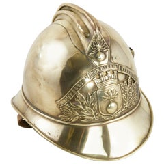 French Brass Fireman's Helmet with City Seal and Leather Interior, circa 1900