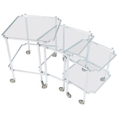 1930s Italy Neoclassic Silver Brass Cart Nesting Tables, Maison Jansen Style