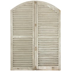 Pair of Early 20th Century Tall French Shutters with Arched Top, Headboard