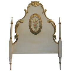 Early 20th Louis XV Polychromed Wood Single Bed Headboard