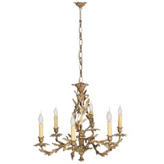 Antique Very Heavy Chandelier from a Old Candlestick, Gilded Bronze, Six Lights