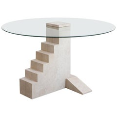 Round Staircase Table, French Limestone, Hand-Sculpted, Rooms
