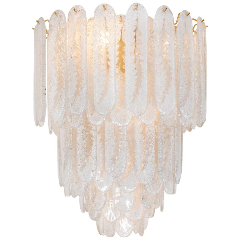 Vintage Frosted Glass Murano Pendant Light 1