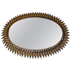 Midcentury Large Oval Sunburst Floral Brass Wall Mirror, 1950s