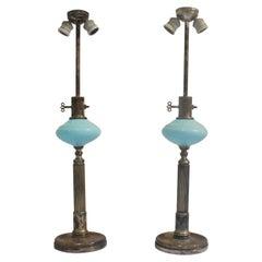 1930s Art Deco Metalarte Blue Opaline Table Lamp, Set of 2