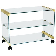 Italian Three-Tier Drinks Cart of Brass and Glass by Gallotti & Radice