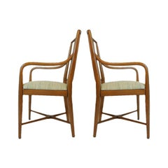 Pair of Sleek Curved Mid-Century Modern Edward Wormley for Drexel Armchairs