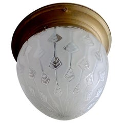 1940s Art Deco Flush Mount with Carved Frosted Glass