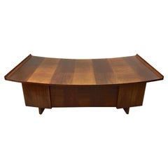Harvey Probber Curved Walnut Top Executive Desk