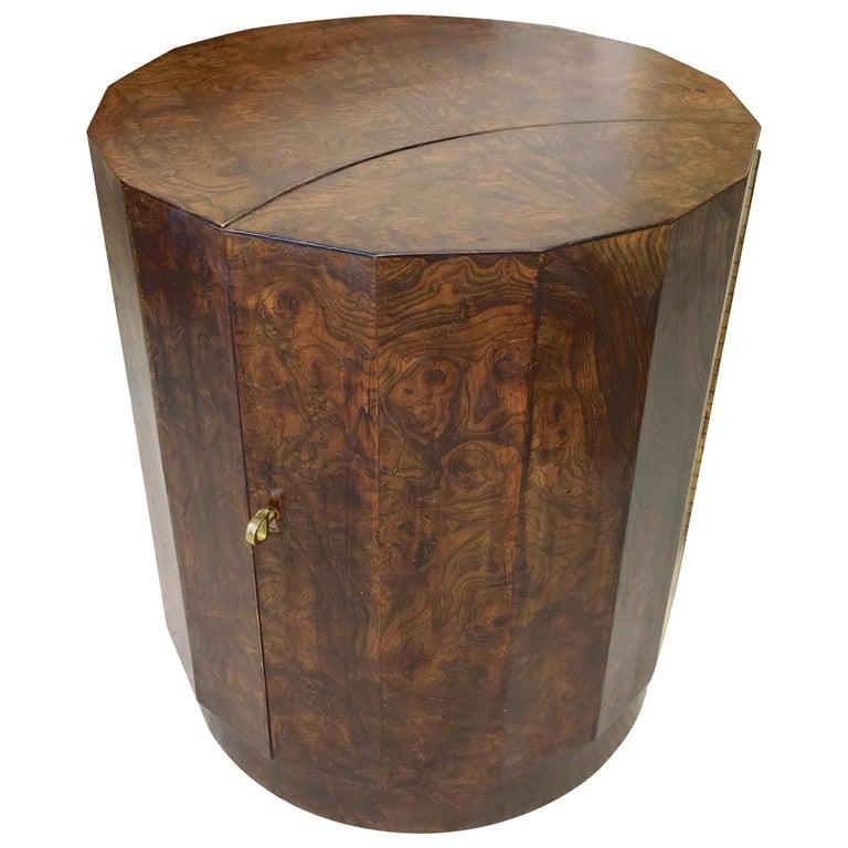 Edward Wormley for Dunbar #6302C Pedestal Drum Bar Cabinet For Sale