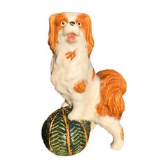 Green Dog with Ball Porcelain Ceramic Statue in the Style of Staffordshire