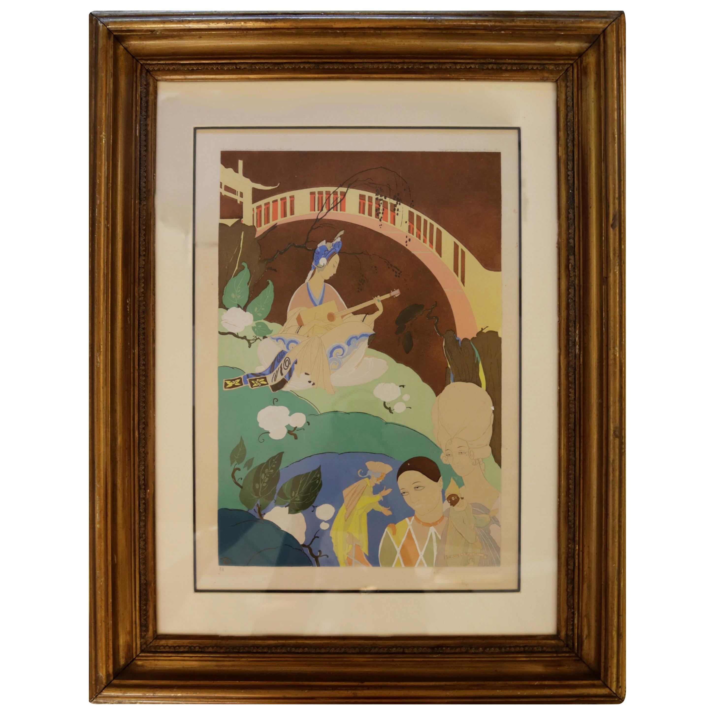 Oriental Lithograph and Watercolor by Umberto Brunelleschi