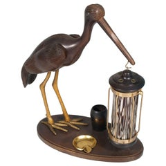 1940s Art Deco Heron Table Lamp, Ashtray, Cigarette Service, Hand Carved Wood