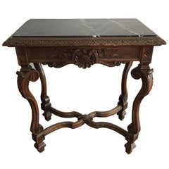 Antique French Black Marble Side or End Table