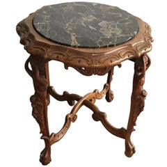 One of a Kind French Antique Table with Figure Carved Legs
