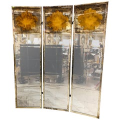 Pair of Art Deco Fashioned Three-Panel Mirrored Room Dividers or Folding Screens