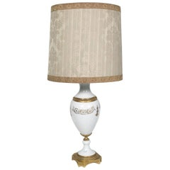 Antique Limoges Bisque Porcelain Table Lamp Decorated Gold Base in Gilded Bronze