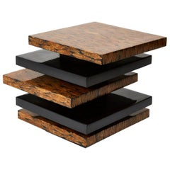 Contemporary Stacked Black Lacquered Side Table with Natural Fiber Inlay, 1990s