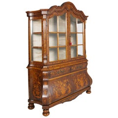 1950s Venetian Walnut Baroque Sideboard and Display Cabinet Richly Floral Inlaid