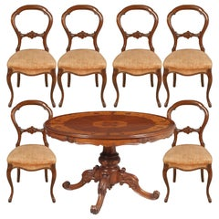 Baroque Sorrento Round Table & Chairs, in Walnut Inlaid & Carved, Wax Polished