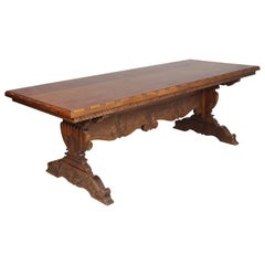 Tuscany Renaissance Dining Table, Hand Carved Solid Walnut