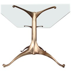 Cast Bronze Dining Table Pedestal Base with Optional Glass Top