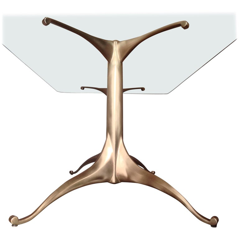 Cast Bronze Dining Table Pedestal Base with Optional Glass Top For Sale