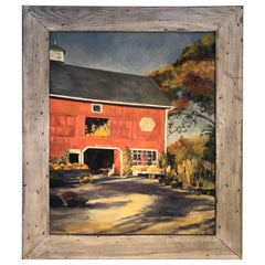 1977 Oil on Canvas of Autumn Landscape with Red Barn by J. Preece