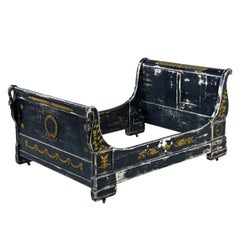 19th Century French Empire Swan Sleigh Bed Mahogany and Brass Accents