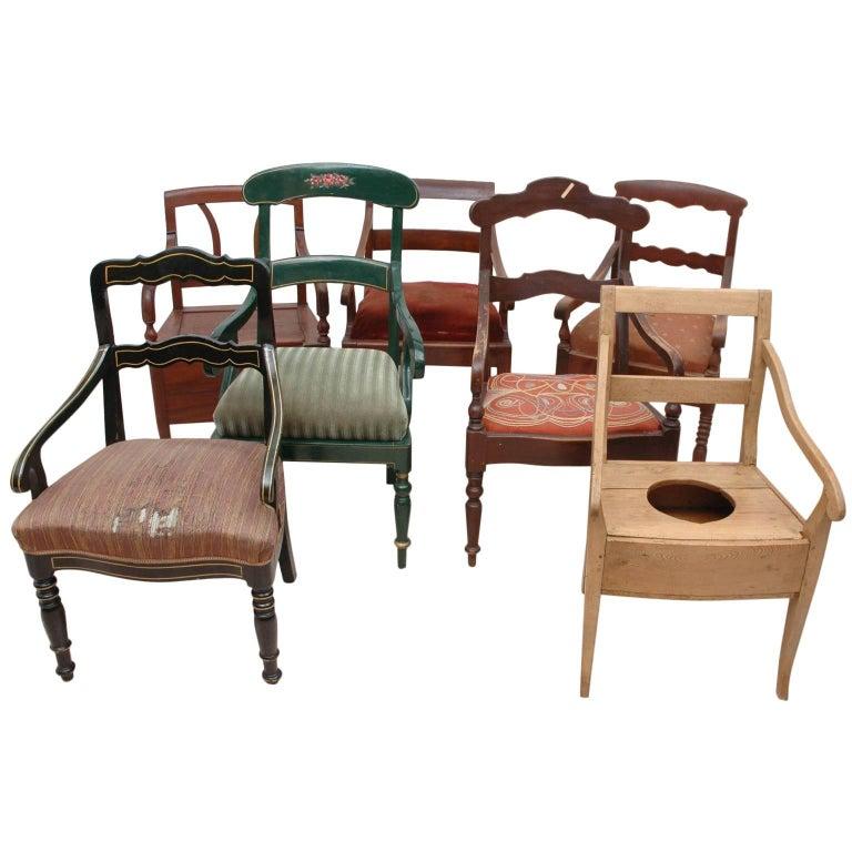 19th Century Collection of Seven Scandinavian Biedermeier/ Empire Armchairs For Sale