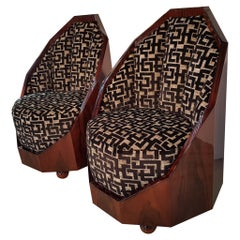 Pair of French Art Deco Walnut Armchairs with 3-D Textile