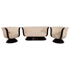 Set of French Art Deco Newly Beige Upholstered Two Armchairs and a Sofa 1940s