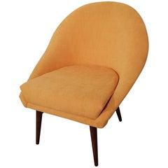 Gelbe gepolsterte Midcentury Sessel auf Buchenholz Beinen