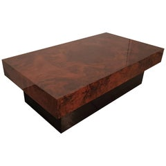 Italian Burl Walnut Mid-Century Modern Coffee Table in Style of Willy Rizzo