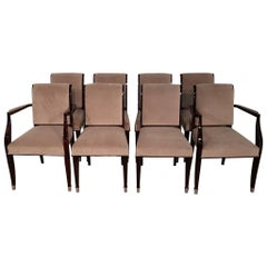 Set of 8 French Art Deco Palisander Dining Chairs Upholstered with Plush Fabric