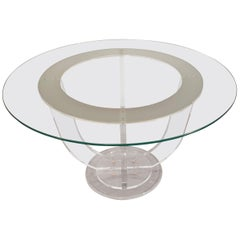 Midcentury French Lucite and Glass Dining or Center Table