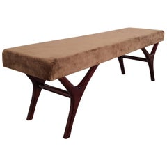 Italian Midcentury Long Bench on Lacquered Solid Beechwood Legs