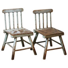 Pair of English wooden Folk Art Chairs