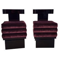 Pair of Bauhaus Velvet Upholstered Stools with Black Painted Base and Backrest