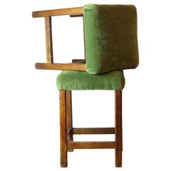 Pair of Moss Green Upholstered Stools
