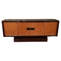 French Art Deco Sideboard in Palisander and Burl Birch Veneer with Marble Top