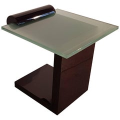 French Art Deco Dark Walnut Side Table with Thick Glass Top