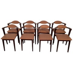 Set of 8 Pieces Italian Walnut Midcentury Dining Chairs with Leather