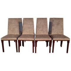 Set of 8 Pieces French Art Deco Upholstered Walnut Dining Chairs