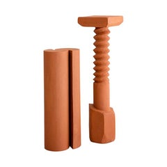 Set of 2 Terracotta Pedestals, Hand Sculpted, Rooms